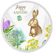 Spring Rabbit And Flowers Round Beach Towel