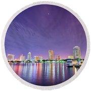 St Petersburg Florida City Skyline And Waterfront At Night Round Beach Towel