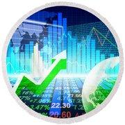 Stock Market Concept Round Beach Towel