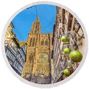 Strasbourg,christmas Market, Alsace France  Round Beach Towel