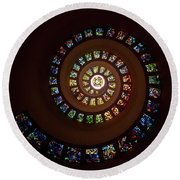 Thanksgiving Chapel Stained Glass Round Beach Towel
