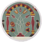 """Study For Proposed Portfolio """"decorated Chests Of Rural Pennsylvania"""" Round Beach Towel"""