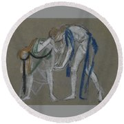 Study Of Two Dancers Round Beach Towel
