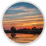 Sunset Reflections Round Beach Towel