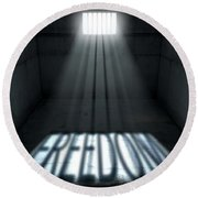Sunshine Shining In Prison Cell Window Round Beach Towel