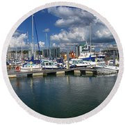 Sutton Harbour Plymouth Round Beach Towel