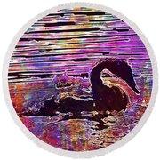 Swan Young Animal Bird Waters  Round Beach Towel