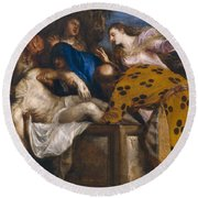 The Burial Of Christ Round Beach Towel