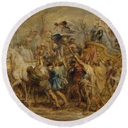 The Triumph Of Henry Iv Round Beach Towel