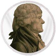 Thomas Jefferson Profile Round Beach Towel