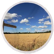 Tracks Through Golden Wheat Field Round Beach Towel
