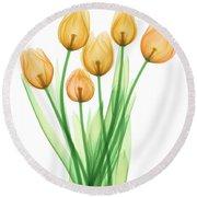 Tulips, X-ray Round Beach Towel