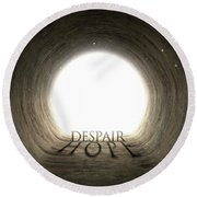 Tunnel Text And Shadow Concept Round Beach Towel