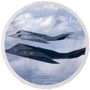 Two F-117 Nighthawk Stealth Fighters Round Beach Towel by HIGH-G Productions