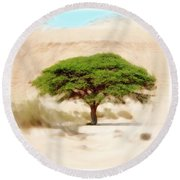 Umbrella Thorn Acacia Acacia Tortilis, Negev Israel Round Beach Towel