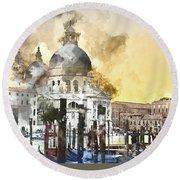 Venice Italy Digital Watercolor On Photograph Round Beach Towel
