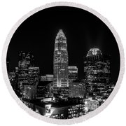 View Of Charlotte Skyline Aerial At Sunset Round Beach Towel