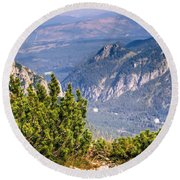 View Of Tatra Mountains From Hiking Trail. Poland. Europe. Round Beach Towel