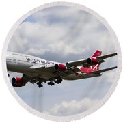Virgin Atlantic Boeing 747 Round Beach Towel