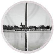 Washington Memorial In Washington Dc Round Beach Towel