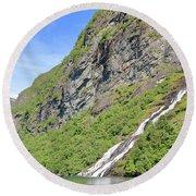 Waterfall In Geiranger Norway Round Beach Towel