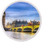 Westminster Bridge And Big Ben Round Beach Towel