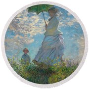 Woman With A Parasol - Madame Monet And Her Son Round Beach Towel