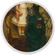 Woman With Child And Goldfish Round Beach Towel