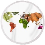 World Fruits Vegetables Map Round Beach Towel