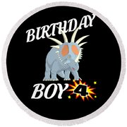 4 Years Old Birthday Design Dinosuar Shirt Round Beach Towel