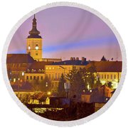 Zagreb Historic Upper Town Night View Round Beach Towel