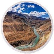 Zanskar River Ladakh Jammu And Kashmir India Round Beach Towel