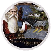 American Christmas Card Round Beach Towel