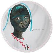 Dinka Bride - South Sudan Round Beach Towel