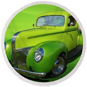 40s Ford Pickup Round Beach Towel