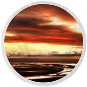 Country Landscapes Round Beach Towel