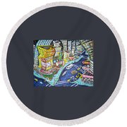 42nd And 8th Street Round Beach Towel