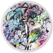 Abstract Expressionsim Art Round Beach Towel
