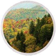 North Carolina Fall Colors Round Beach Towel