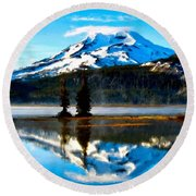 Landscape Oil Painting Round Beach Towel