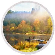 Landscape Oil Painting On Canvas Round Beach Towel