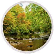 North Carolina Fall Colors Round Beach Towel