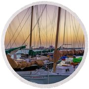 4956- Key West Harbor At Sunset Round Beach Towel