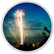 4rth Of July Round Beach Towel