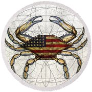 4th Of July Crab Round Beach Towel by Charles Harden