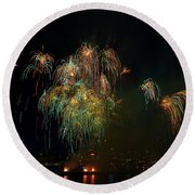 4th Of July Fireworks From The Barge Portland Oregon Round Beach Towel