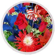 4th Of July Surprise  Round Beach Towel