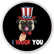 4th Of July Usa Indepedence Day Patriotic Uncle Sam Pug Dog Round Beach Towel