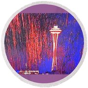 4th Space Needle Round Beach Towel