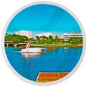 4x1 Downtown Tampa Panorama Round Beach Towel